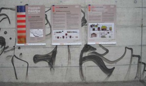 Informationstafeln des Energieerlebnisses beim Zugang zur ARA Langnau